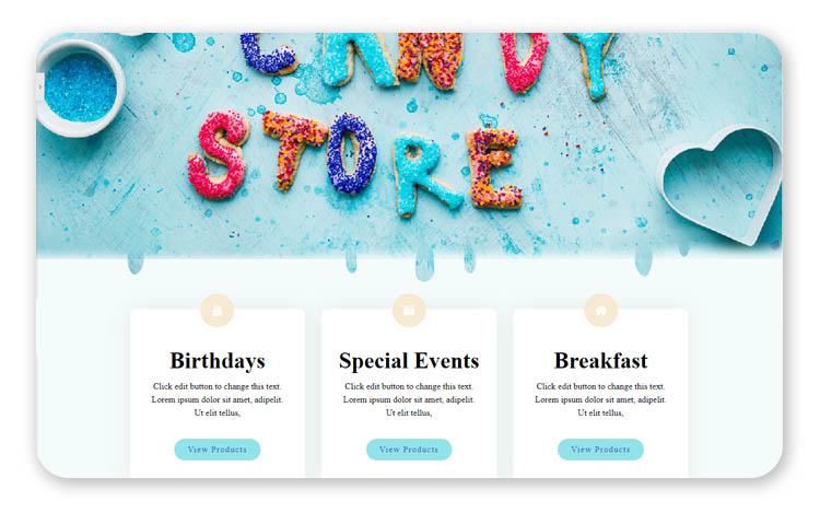 Тяжелый официальный шрифт с засечками не подходит детскому магазину сладостей